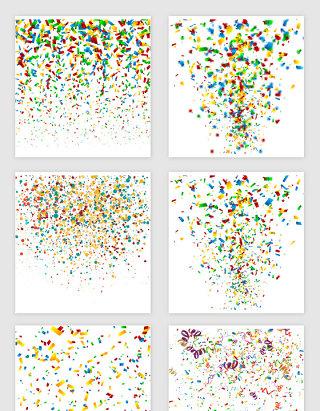 矢量彩色节日纸屑飘带素材