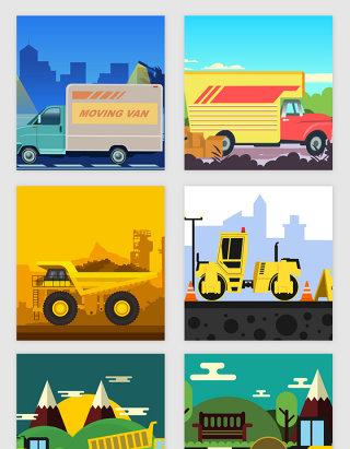 工程道路相关车辆矢量素材