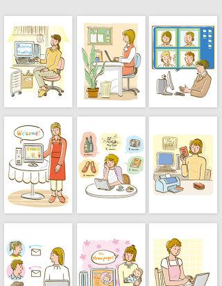 矢量手绘卡通商务办公美女插画