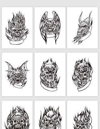 矢量黑色线描创意骷髅纹身图案