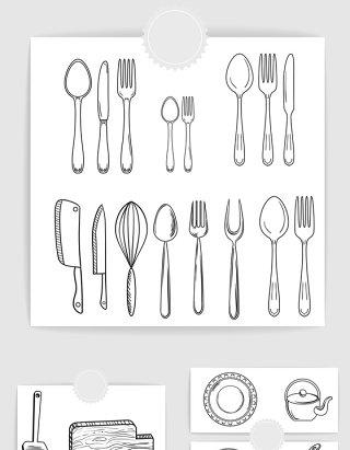 矢量手绘线描餐具素材