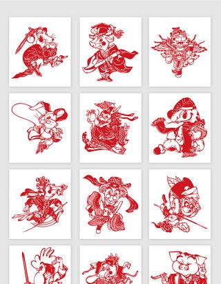 中国传统门神人物剪影矢量素材