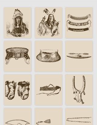 手绘原始人物佩饰矢量素材
