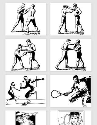 手绘体育运动人物矢量素材