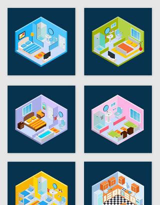 3d卡通游戏房间立体矢量素材