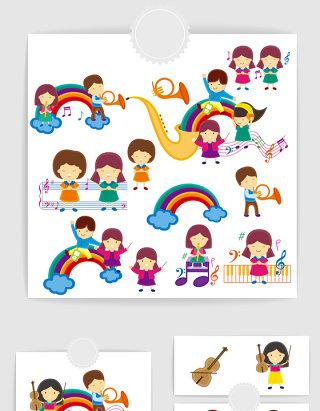 矢量卡通可爱音乐儿童插画