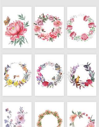 复古花卉花环矢量素材