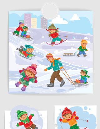 插画小朋友滑雪玩耍矢量图形