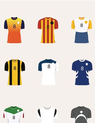 足球运动员球服矢量图