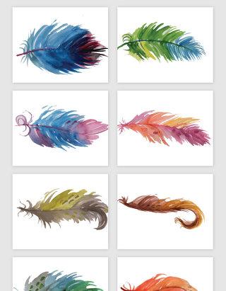 创意水彩渐变羽毛矢量素材