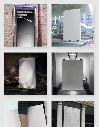 室外户外广告牌智能贴图展示样机素材