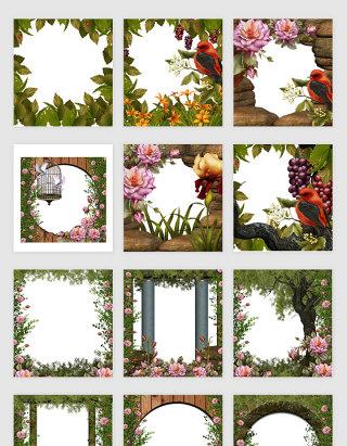 高清免抠创意植物花卉相框