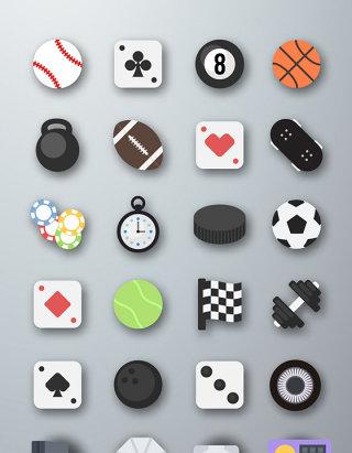 娱乐运动体育游戏元素图标素材
