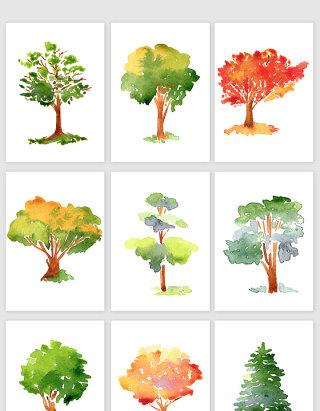 水彩手绘园林植物景观树木元素树叶