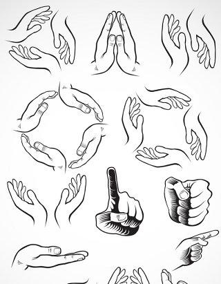 素描手势矢量图标图形