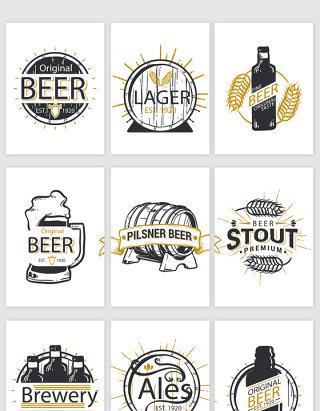 啤酒节手绘小图标矢量素材