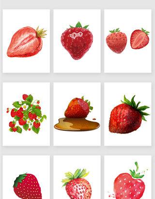 手绘草莓设计素材