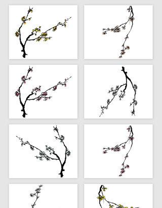 手绘梅花树枝矢量素材