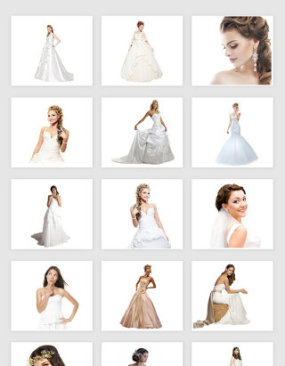 高清免抠婚纱新娘美女模特