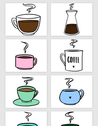 手绘的咖啡杯矢量素材