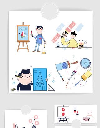 矢量手绘卡通时尚绘画艺术设计