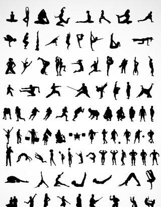 健身房运动剪影矢量图形