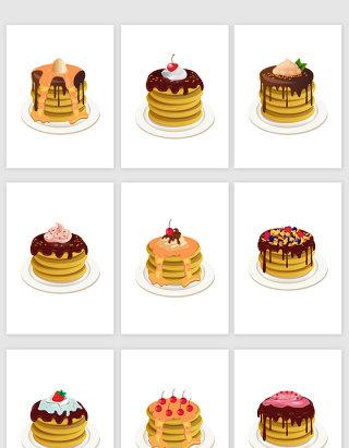 果味巧克力蛋糕卡通食物矢量图形