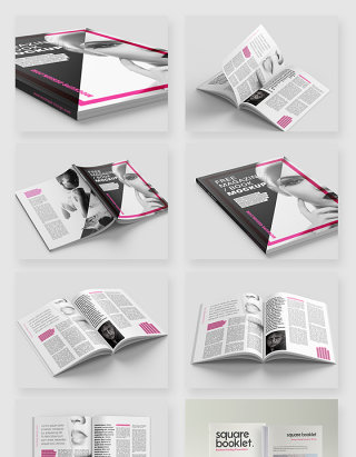 杂志书籍画册智能贴图样机素材
