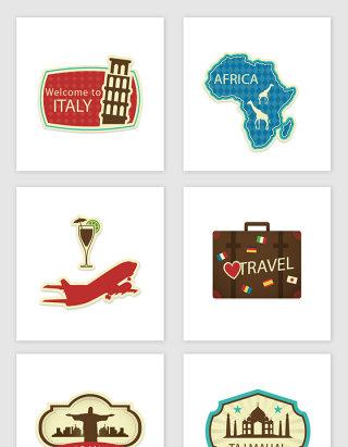 不规则图形各国主题标签