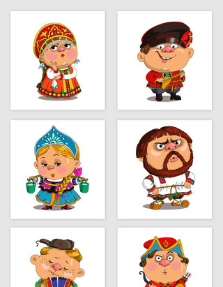 俄罗斯手绘卡通设计元素