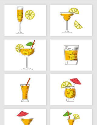 彩色素描果汁插画矢量图形