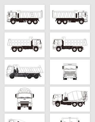 矢量线描卡车素材