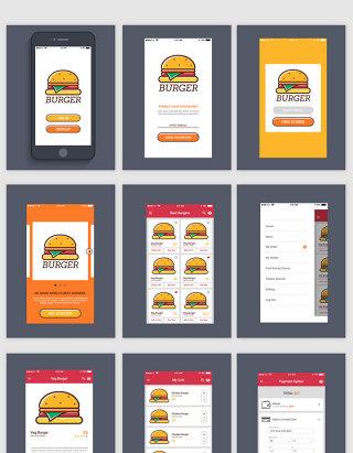 汉堡美食外卖手机APP界面UI素材