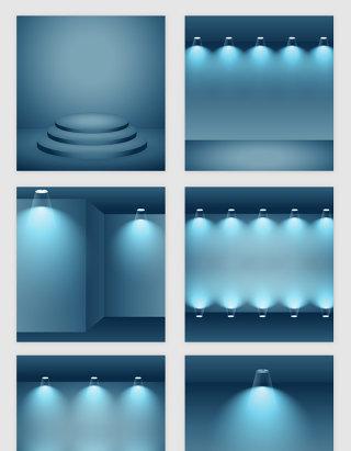 蓝色的空房子灯光模型矢量素材