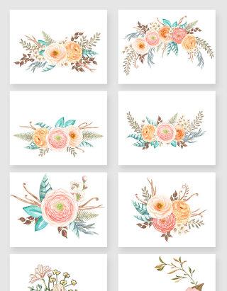 手绘彩色鲜花矢量素材