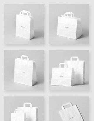 白色购物纸袋设计智能贴图样机素材