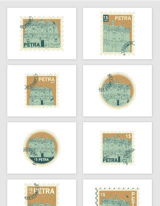 建筑物插画邮票矢量图形