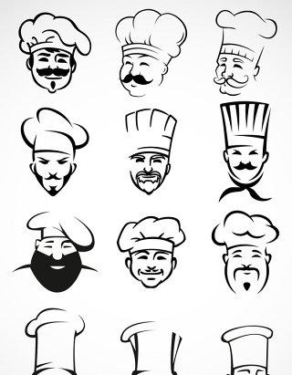 厨师头像矢量图标图形