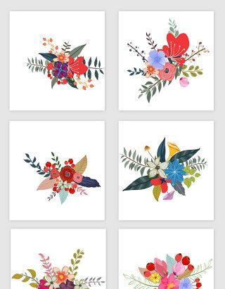 春季水彩手绘花的素材