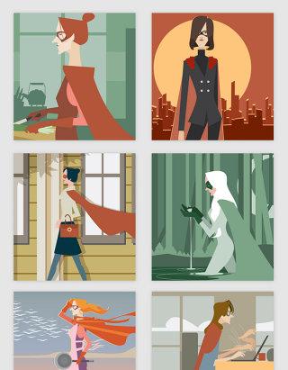神奇厉害的女超人矢量素材