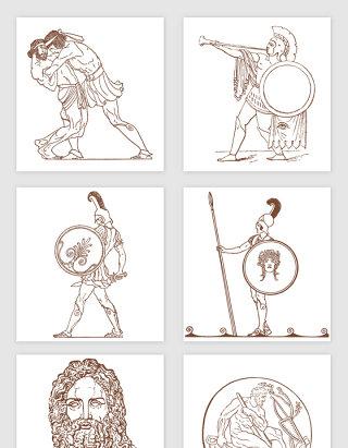 欧洲将士兵将雕像手绘插画矢量图形