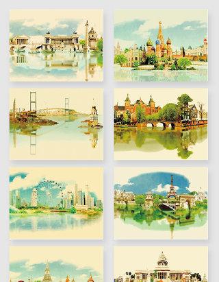 水彩世界城市风景矢量素材