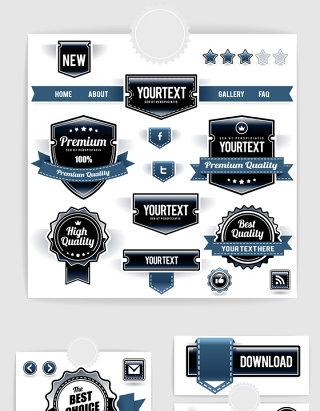 蓝色黑色华丽徽章网页图标矢量素材