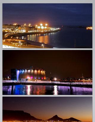 美丽的海边夜晚城市灯光风景背景