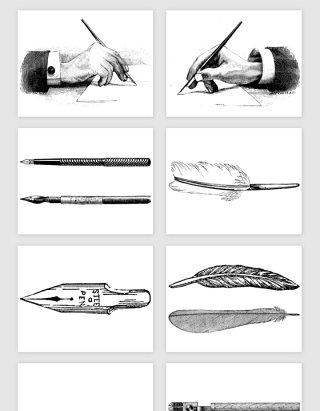 手绘书写墨水羽毛钢笔矢量素材