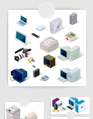 矢量3D立体办公电子产品素材