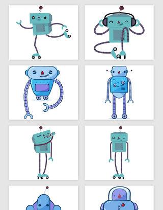 浅蓝可爱的卡通机器人矢量素材