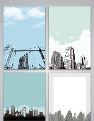 矢量手绘线描剪影城市建筑背景