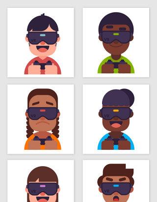 6款创意戴vr头显的人物头像矢量图设计素