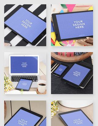 苹果电脑ipad智能贴图场景样机素材